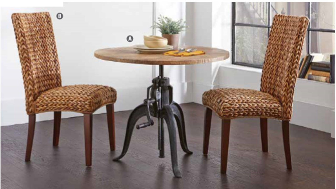 Rustic Solid Adjustable Dining Table With Crank 2 Chair