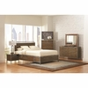 4PC Arcadia 20380 Industrial Queen Platform Bed with Pewter-Coated Metal Accents