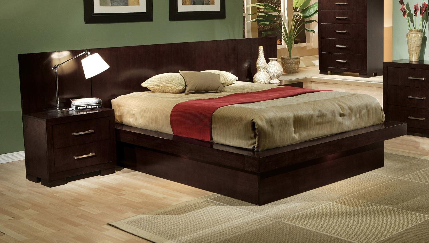 Modern platform bedroom sets - 5 Pc Jessica Queen Pier Platform Bedroom Set With Rail Seating And Lights
