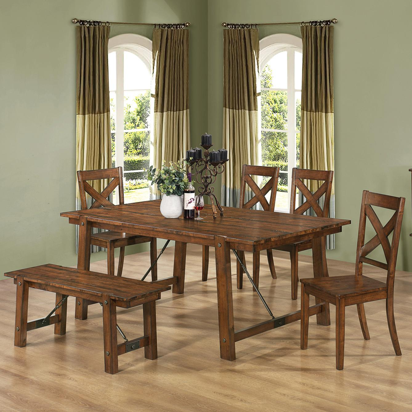 Modern 6 PC Dining Set Table, 4 Chair and Bench Furniture Stores