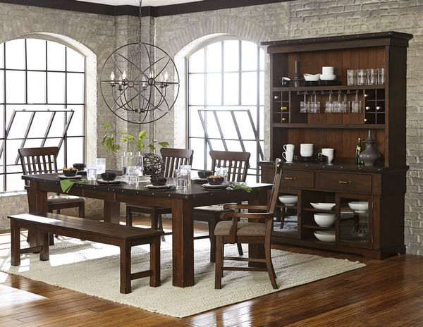 traditional 6 PC dining table dining chairs Dining Arm  : 6pc schleiger dining room set table 2 arm chairs 2 side chair and bench 1 from galafutonsandfurniture.com size 600 x 464 jpeg 75kB