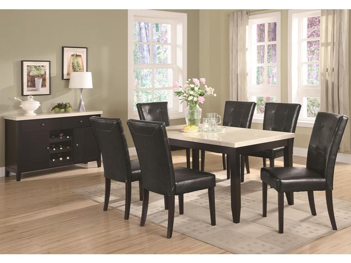 contemporary faux marble 7 pc dining room set dining table dining