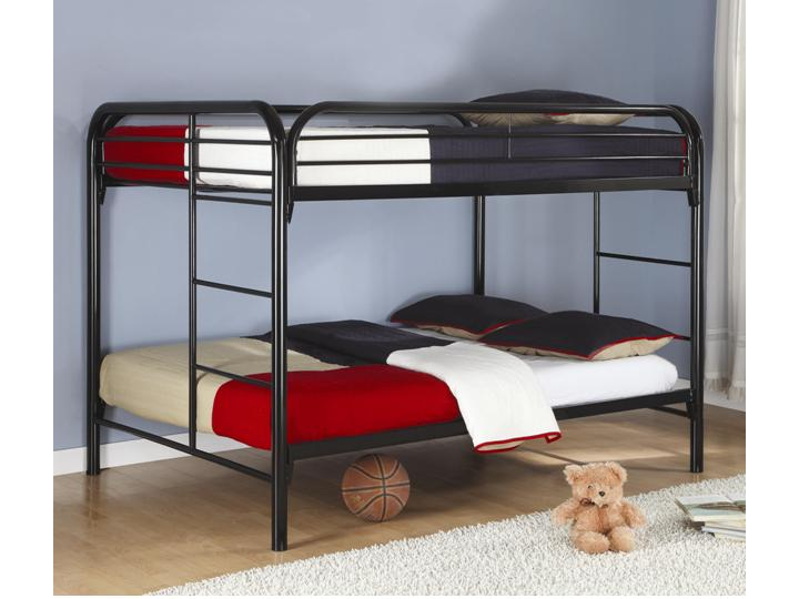 Contemporary children metal bunk bed full over full