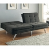 Futons Contemporary Charcoal Microfiber Sofa Bed with Split Back