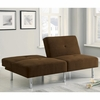 Futons Contemporary Chocolate Microfiber Sofa Bed with Split Back