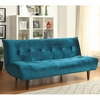 Futons Teal Velvet Sofa Bed with Solid Wood Legs & Tufted Back