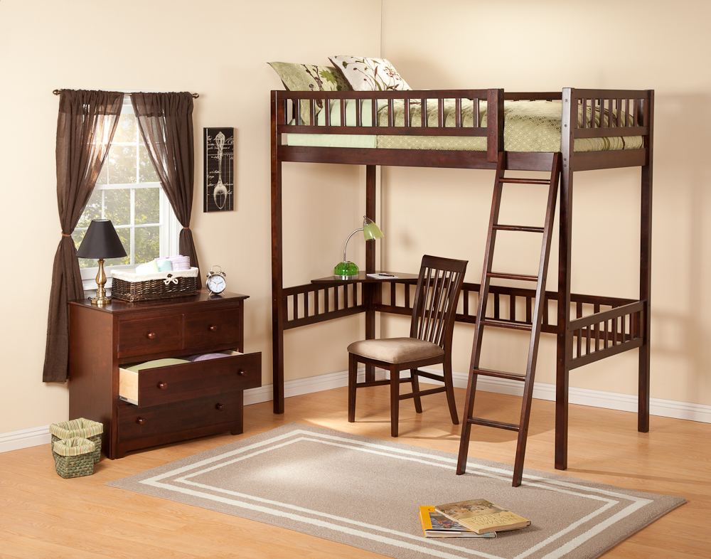 Contemporary Twin Mission Loft Bunk Bed Bedroom Furniture