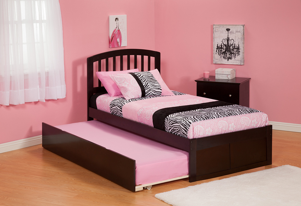 Modern richmond twin size platform bed flat panel with trundle bed