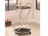 Modern Rolling Serving Cart in Tempered Glass and Chrome