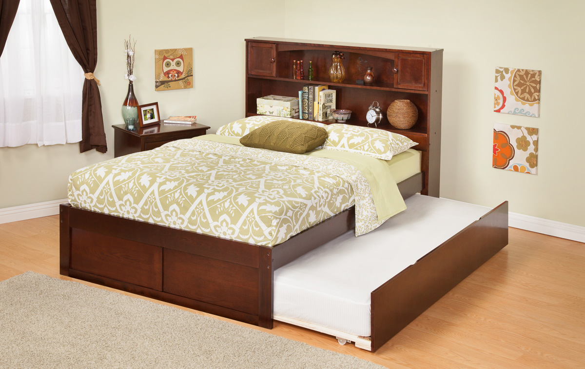 Bookcase twin size platform bed flat panel with trundle bed atlantic