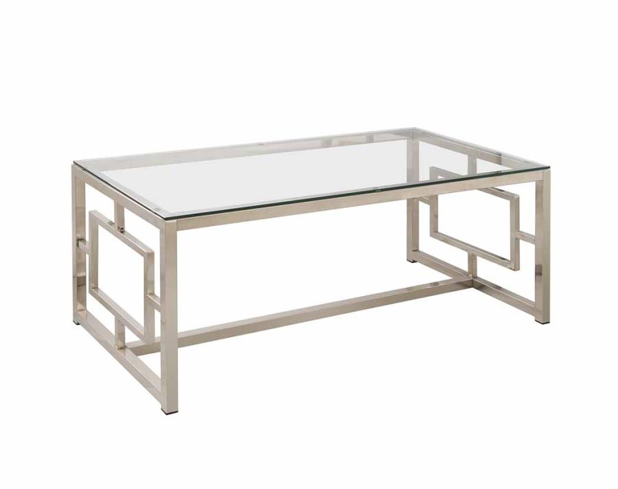 contemporary metal coffee table with glass table top geometric motif