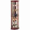 Solid Wood Cherry Glass Corner Curio Cabinet with 6 Shelves