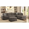 Stonenesse Grey Contemporary Sectional with Button Tufted Cushions