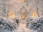 "Abraham Hunter Hand Signed and Numbered Limited Edition Embellished Canvas Giclee:""Winter Wonderland"""