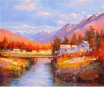 "Alex Perez Hand Signed and Numbered Limited Edition Acrylic on Canvas: "" Autumn Fantasy """