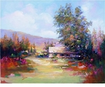 "Alex Perez Hand Signed and Numbered Limited Edition Acrylic on Canvas: "" Meadow House """