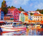 "Alex Perez Hand Signed and Numbered Limited Edition Acrylic on Canvas: "" Veli Losinj Harbour  """