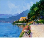 "Alex Perez Hand Signed and Numbered Limited Edition Acrylic on Canvas: "" Villa Cipressi """