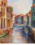 "Alex Perez Hand Signed and Numbered Limited Edition Oil on Canvas: "" Canal in Burano """