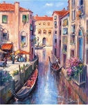 "Alex Perez Hand Signed and Numbered Limited Edition Oil on Canvas: "" Evening in Venice """