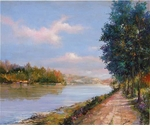 "Alex Perez Hand Signed and Numbered Limited Edition Oil on Canvas: "" Giverny Old Path """