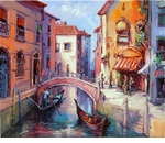 "Alex Perez Hand Signed and Numbered Limited Edition Oil on Canvas: "" Gondoliere Veneciano """