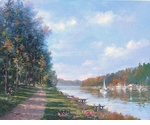 "Alex Perez Hand Signed and Numbered Limited Edition Oil on Canvas: "" River Promenade """