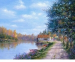 "Alex Perez Hand Signed and Numbered Limited Edition Oil on Canvas: "" Riverside Old Path """
