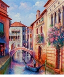 "Alex Perez Hand Signed and Numbered Limited Edition Oil on Canvas: "" Romnatic Venice """