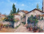 "Alex Perez Hand Signed and Numbered Limited Edition Oil on Canvas: "" Spanish House Front """