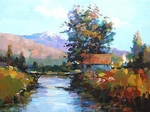 "Alex Perez Hand Signed and Numbered Limited Edition Oil on Canvas: "" Spring Bridge """