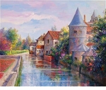 "Alex Perez Hand Signed and Numbered Limited Edition Oil on Canvas: "" Touraine Canal """