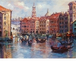 "Alex Perez Hand Signed and Numbered Limited Edition Oil on Canvas: "" Venetian Sunset """