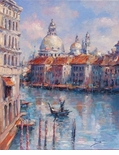 "Alex Perez Hand Signed and Numbered Limited Edition Oil on Canvas: "" View of Grand Canal """