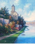 "Alex Perez Hand Signed and Numbered Limited Edition Oil on Canvas: "" View of St. Florent - France """
