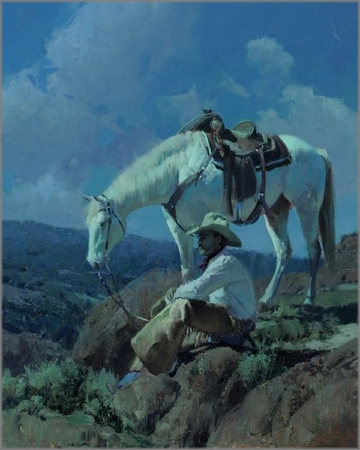 "Bill Anton Hand Signed and Numbered Limited Edition Giclee Print:"" Under a Cowboy Moon """