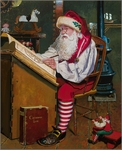 """Dean Morrissey Artist Hand Signed Open Edition Canvas Giclee:""""Santa Checking the Stars"""""""