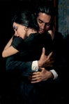 "Fabian Perez Handsigned and Numbered Limited Edition Embellished Giclee on Canvas:""The Embrace II """