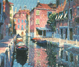 "Howard Behrens Hand Embellished Limited Edition Serigraph on Canvas: ""Venetian Canal"""
