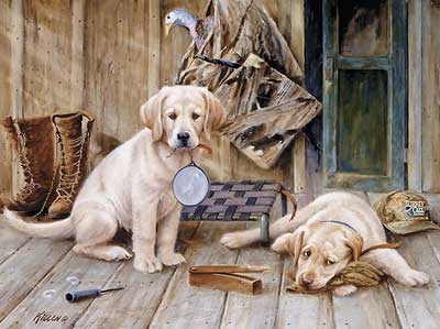 "Jim Killen Handsigned and Numbered Limited Edition Artist Proof Print:""Breaktime-Yellow Labs """