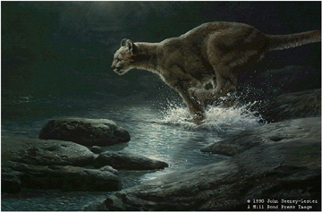 """John Seerey – Lester Limited Edition Print:""""Moonlight Chase - Cougar"""""""