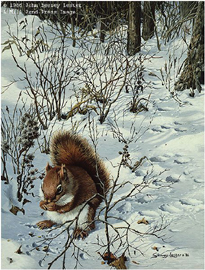 "John Seerey – Lester Limited Edition Print:""Snowy Excursion - Red Squirrel"""