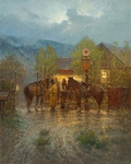 """G Harvey Hand Signed and Numbered Limited Edition Giclee on Canvas:""""High Mountain Mercantile """""""