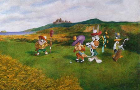 "Kirk Mueller Looney Tunes Golf Limited Edition Gicle� on Fine Art Paper:""Bagged by Bonny Bugs"""