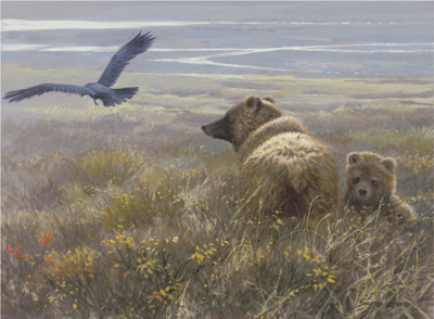 """Limited Edition Print:""""Denali Encounter - Grizzly, Cub and Raven """""""