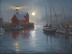 """Mark Keathley Hand Signed and Numbered Limited Edition AP Embellished Canvas Giclee:""""Harbor Moon"""""""