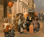 "Mian Situ Hand signed and Numbered Limited Edition Gicl�e Canvas:""Toy Peddler of Dupont Street, Chinatown,S.F. 1905"""