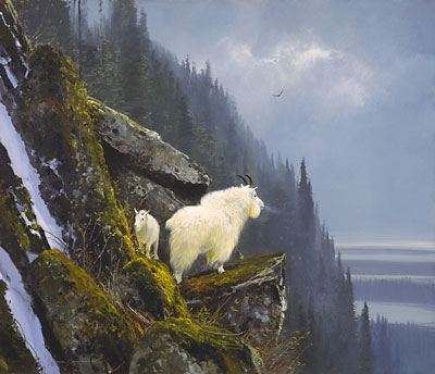 "Michael Coleman Hand Signed & Numbered Limited Edition Giclee on Paper:""Rugged Heights - Mountain Goat Family"""