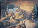 """Thomas Kinkade Signed and Numbered Limited Edition Print and Hand Embellished Canvas :""""Country Christmas Homecoming"""""""