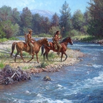 "Martin Grelle Artist Hand Signed and Numbered Limited Edition Canvas Giclee:""Wolves on Rock Creek"""
